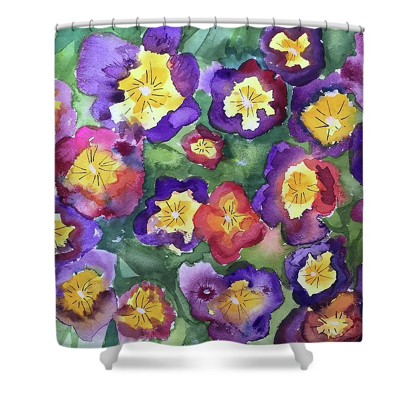Floral Shower Curtain featuring the painting Pansy Party by Bonny Butler