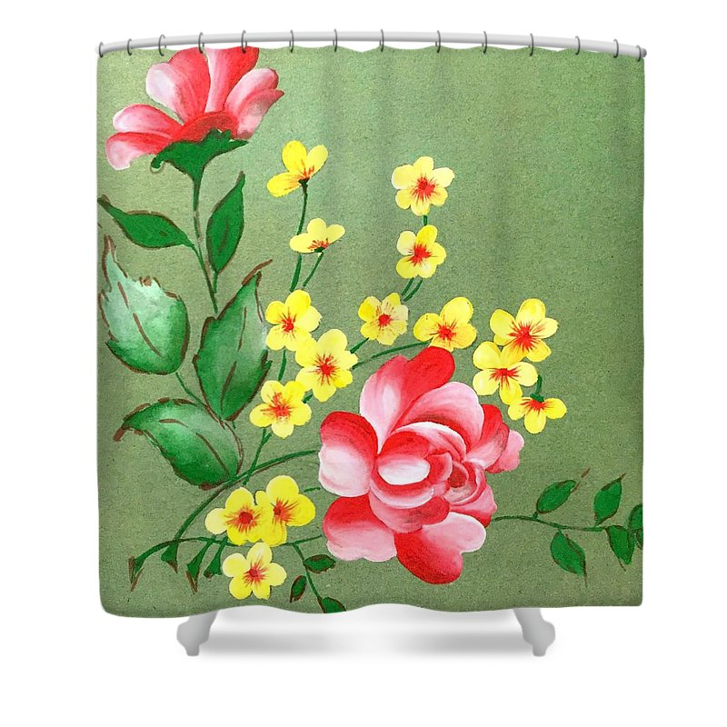 Rose Shower Curtain featuring the painting Flowers - 2 by Pushpa Sharma
