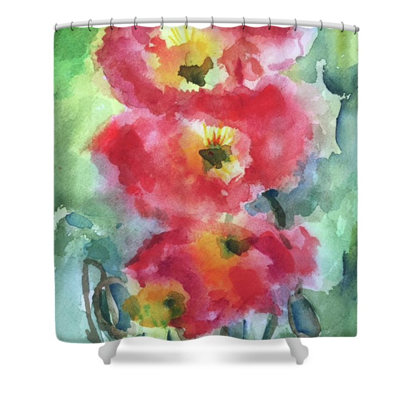 Floral Shower Curtain featuring the painting Trio by Bonny Butler