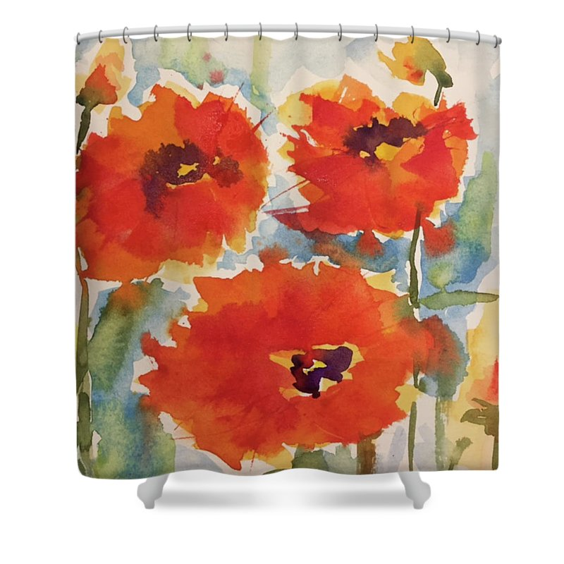 Poppies Shower Curtain featuring the painting Poppies Wanted by Bonny Butler