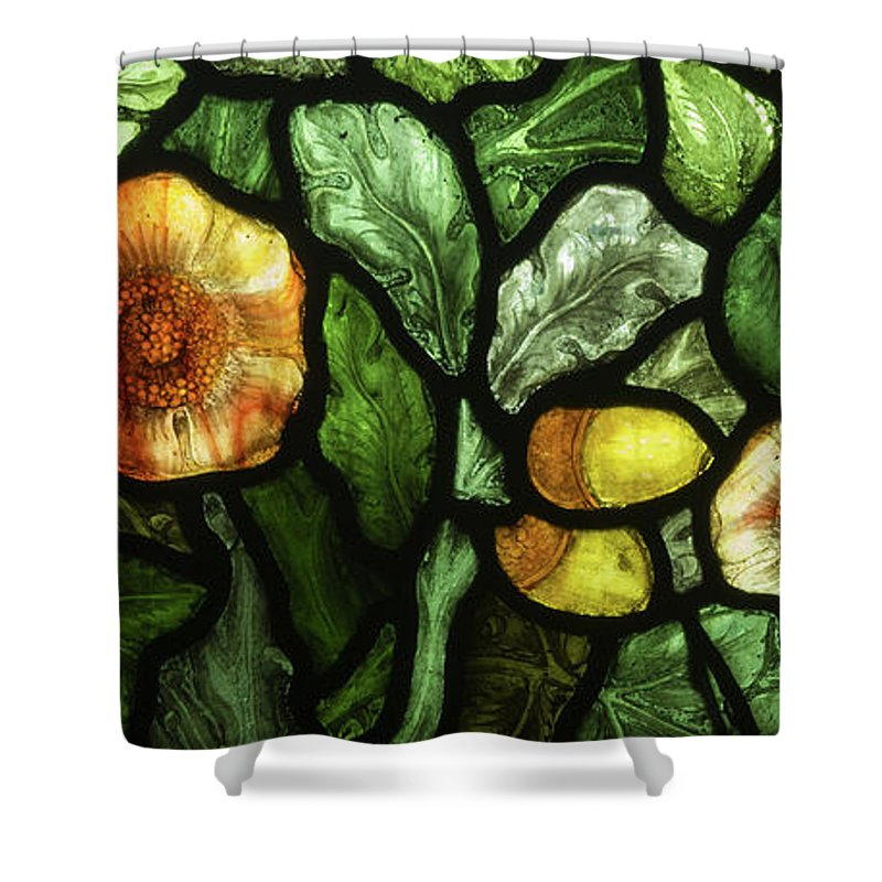 William Morris Shower Curtain Featuring The Glass Art Flowers And Acorns Stained By