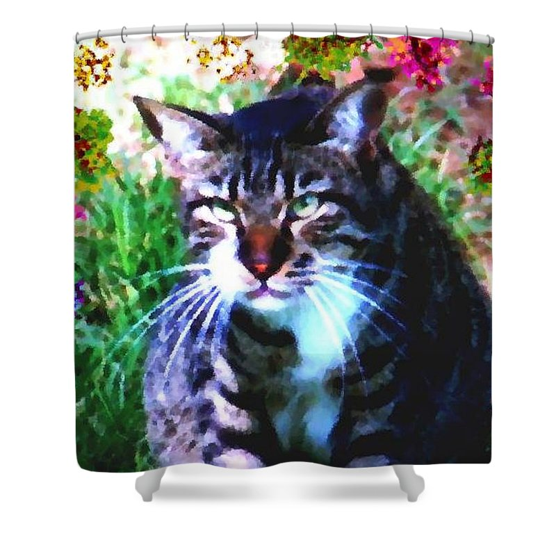 Cat Grey Attention Grass Flowers Nature Animals View Shower Curtain featuring the digital art Flowers And Cat by Dr Loifer Vladimir