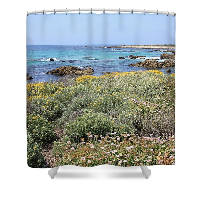 Shower Curtain featuring the photograph Flowers And Surf by Carol Groenen