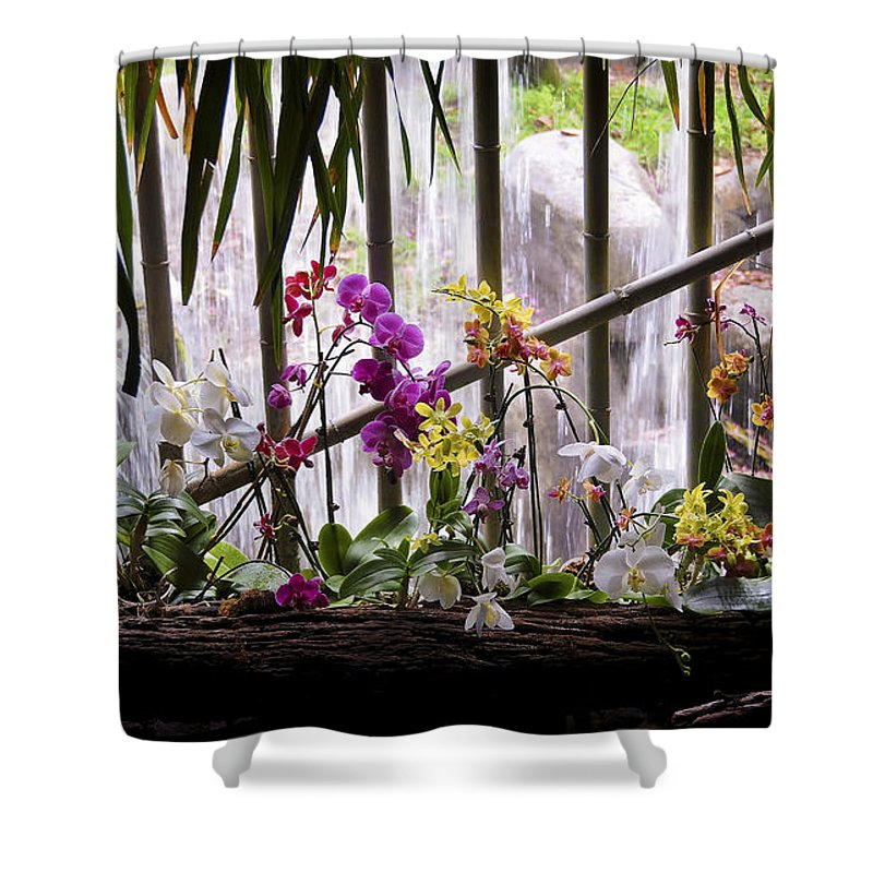 Flower Shower Curtain featuring the photograph Flowers And Waterfall by Steven Sparks