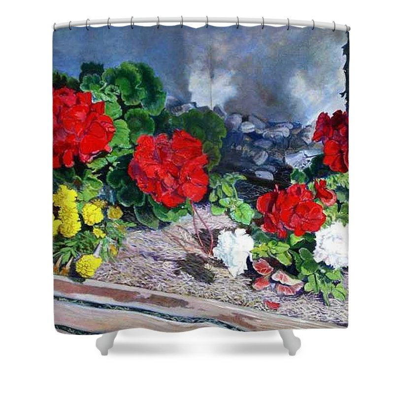 Colorful Flowers Outside Of The Church Shower Curtain featuring the painting Flowers At Church by Scott Robertson