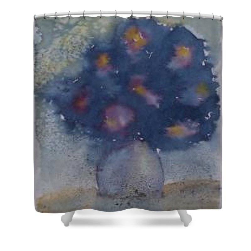 Watercolor Shower Curtain featuring the painting Flowers At Night Original Abstract Gothic Surreal Art by Derek Mccrea