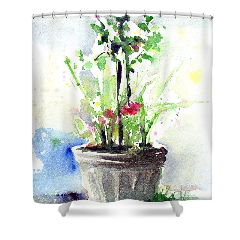 Flowers Shower Curtain featuring the painting Flowers By The Pool by John D Benson