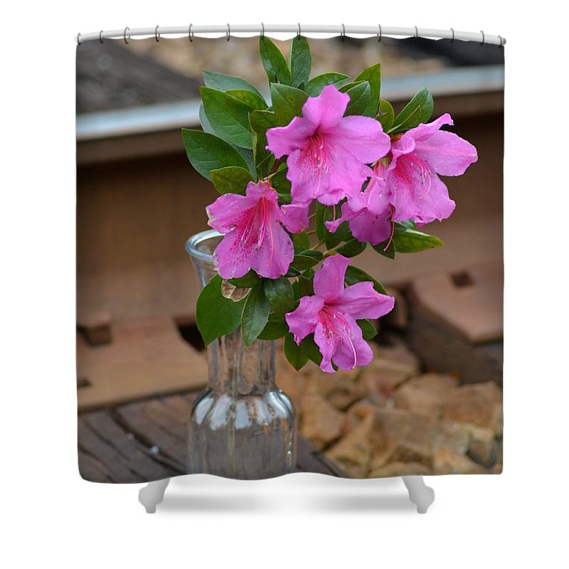 Flower By The Tracks Shower Curtain featuring the photograph Flowers By The Tracks by Charlie Day