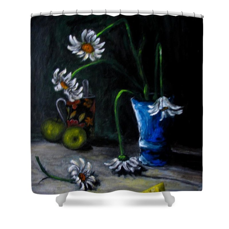 Flower Shower Curtain featuring the painting Flowers Camomiles Still Life Acrylic Painting by Natalja Picugina