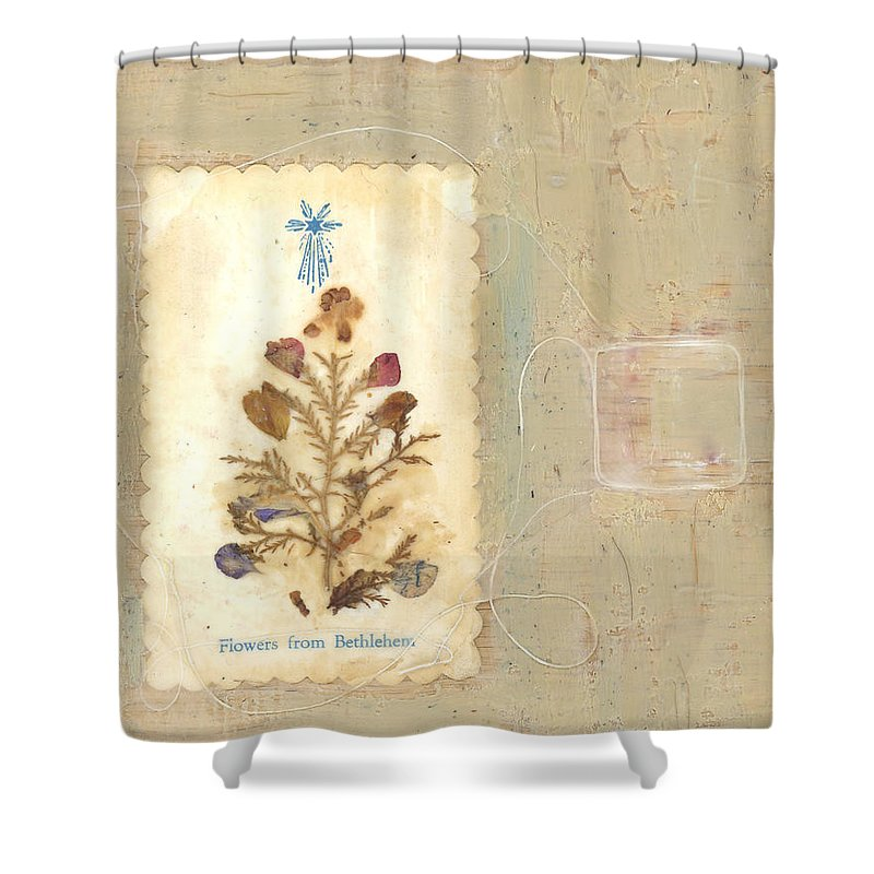 Encaustic Shower Curtain featuring the mixed media Flowers From Bethlehem by Alice Kelsey