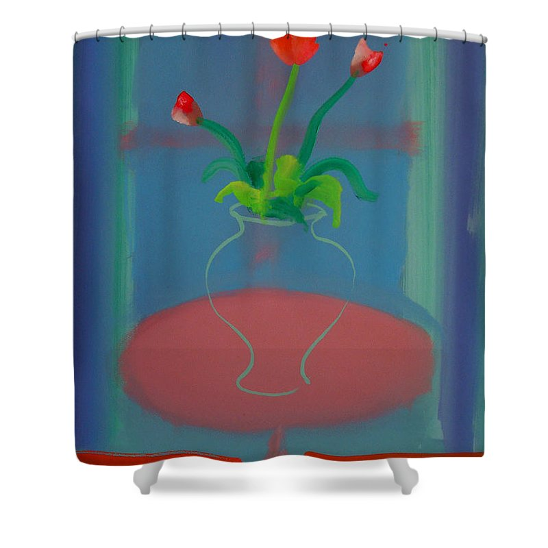 Dufy Shower Curtain featuring the painting Flowers In A Bay Window by Charles Stuart