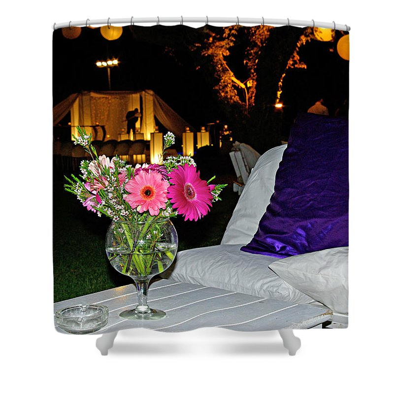 Flowers Shower Curtain featuring the photograph Flowers In A Vase On A White Table by Zal Latzkovich
