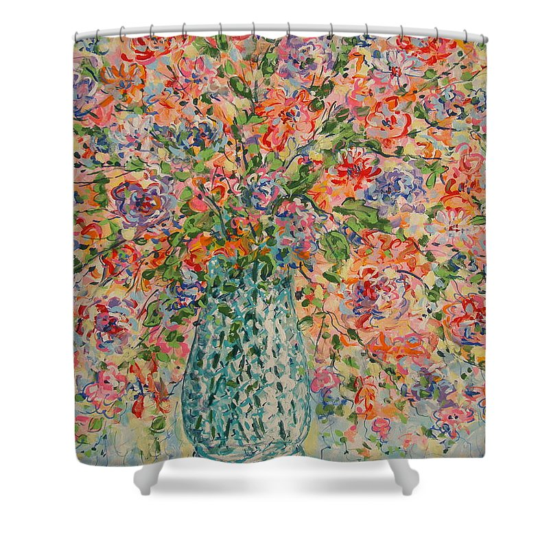 Flowers Shower Curtain featuring the painting Flowers In Crystal Vase. by Leonard Holland