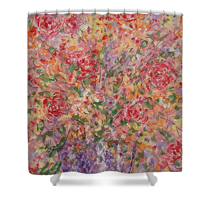 Flowers Shower Curtain featuring the painting Flowers In Purple Vase. by Leonard Holland