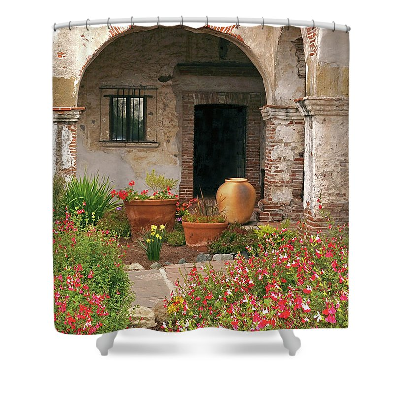 California Missions Shower Curtain featuring the photograph Flowers In The South Wing, Mission San Juan Capistrano, California by Denise Strahm