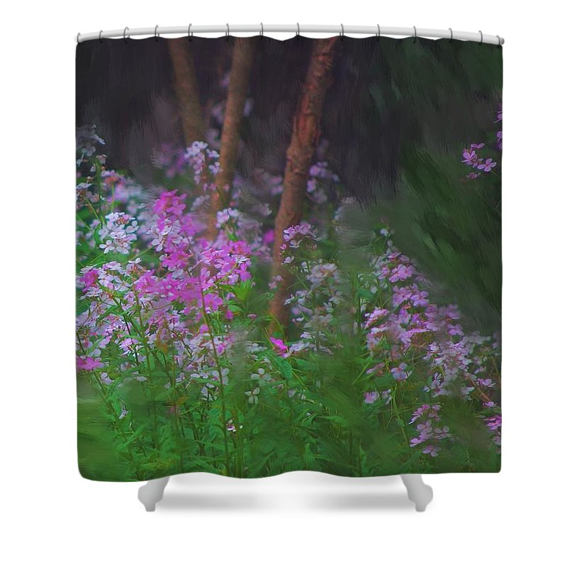 Landscape Shower Curtain featuring the painting Flowers In The Woods by David Lane