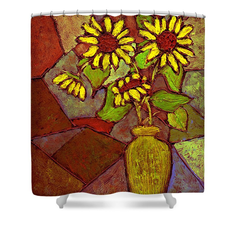 Sunflowers Shower Curtain featuring the painting Flowers In Vase Altered by Wayne Potrafka