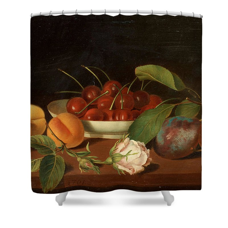 Justus Juncker 1703-1767 Flowers Shower Curtain featuring the painting Flowers by MotionAge Designs