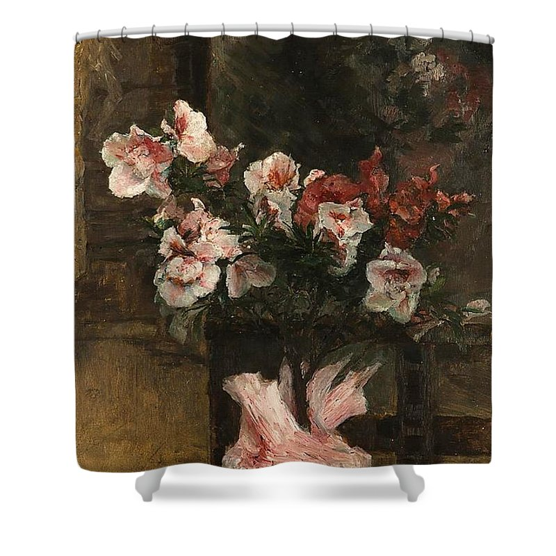 Lebeda Otakar (1877 - 1901) Flowers Shower Curtain featuring the painting Flowers by MotionAge Designs