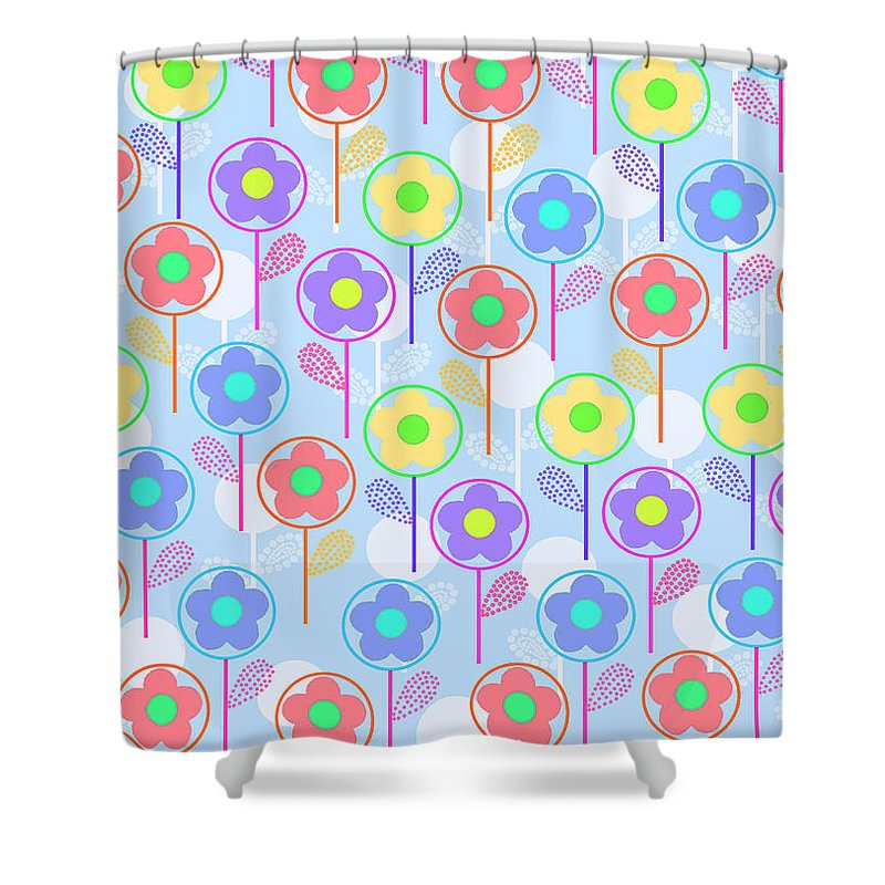 Digital Shower Curtain featuring the digital art Flowers by Louisa Knight