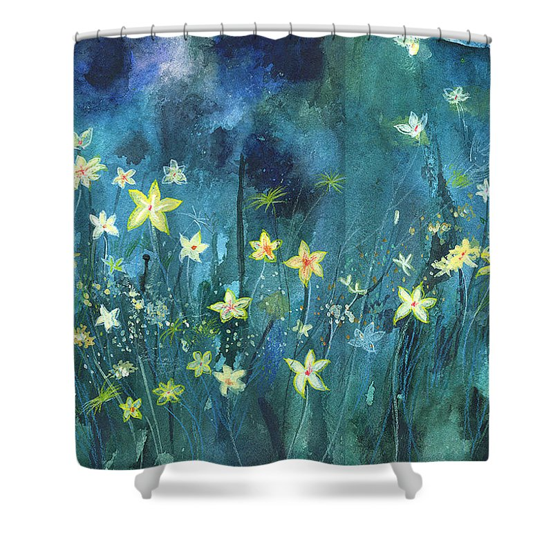 Landscape Shower Curtain featuring the painting Flowers N Breeze by Anil Nene