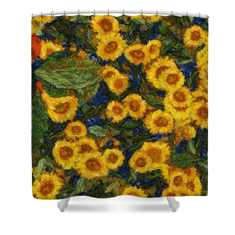 Flowers Shower Curtain featuring the painting Flowers Of Joy by Sarah Kirk
