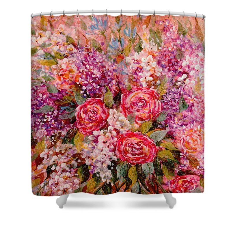 Romantic Flowers Shower Curtain featuring the painting Flowers Of Romance by Natalie Holland