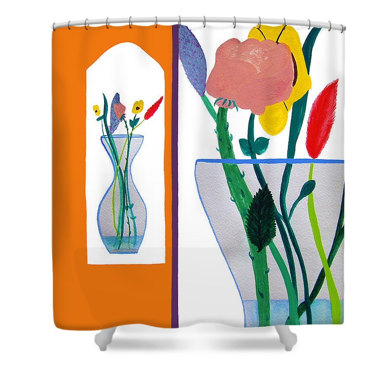 Art Shower Curtain featuring the painting Flowers Small And Big by Lee Serenethos