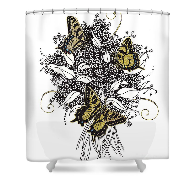 Butterflies Shower Curtain featuring the drawing Flowers That Flutter by Stanza Widen