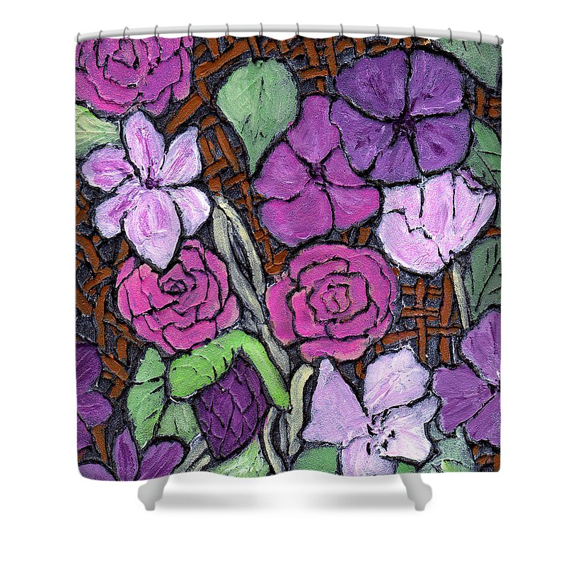 Flowers Shower Curtain featuring the painting Flowers With Basket Weave by Wayne Potrafka