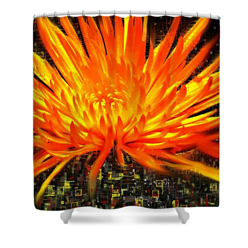 Abstract Shower Curtain featuring the digital art Flowersquared by Ian MacDonald