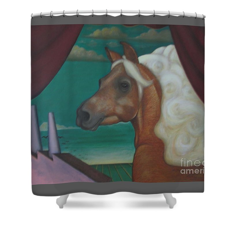 Horse Shower Curtain featuring the painting Flown Memories by Kamara Hosic