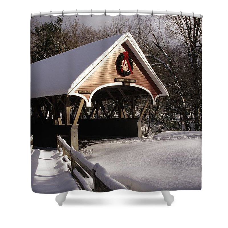 Franconia Notch State Park Shower Curtain featuring the photograph Flume Covered Bridge - Lincoln New Hampshire Usa by Erin Paul Donovan