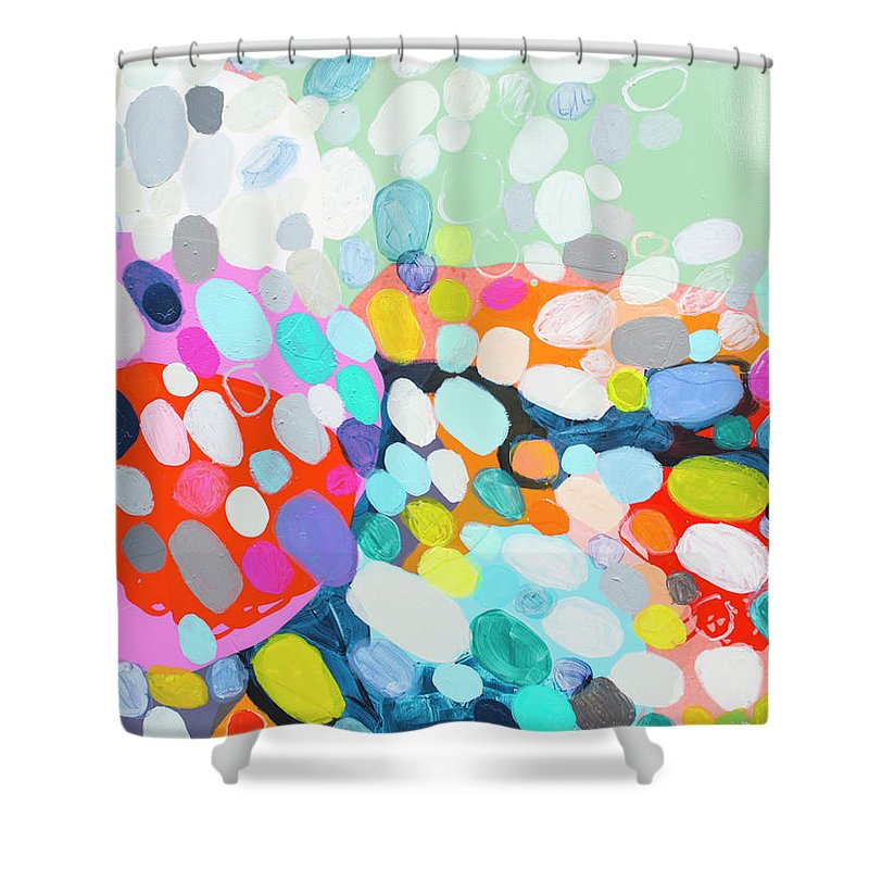 Abstract Shower Curtain featuring the painting Flushed by Claire Desjardins