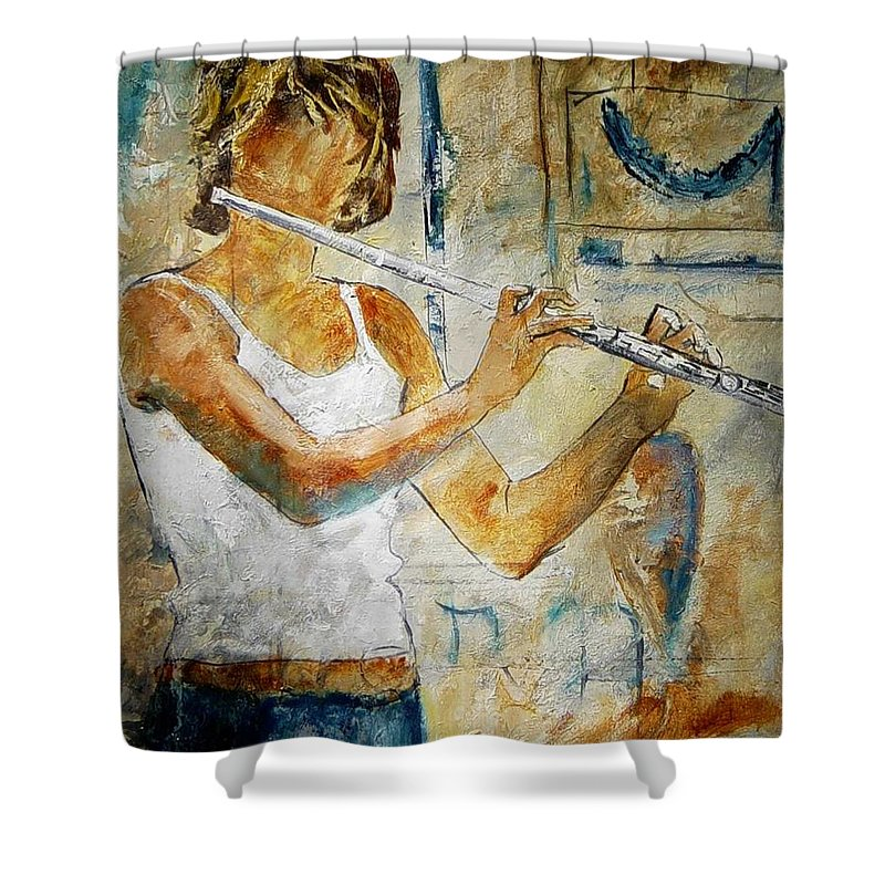 Music Shower Curtain featuring the painting Flutist by Pol Ledent