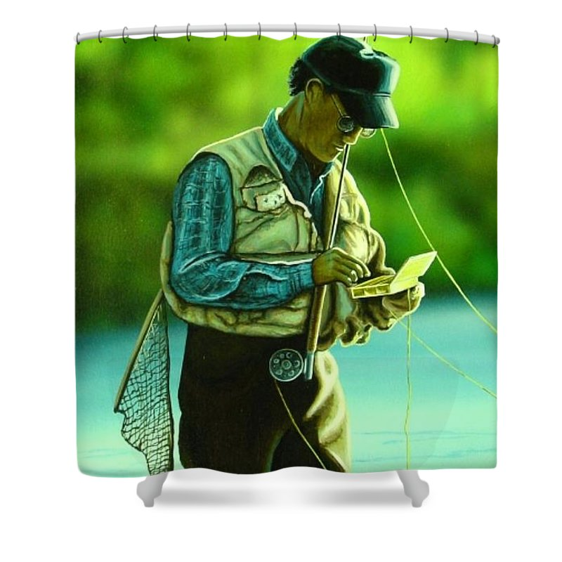 Fly Shower Curtain featuring the painting Fly Fisher II by Anthony J Padgett