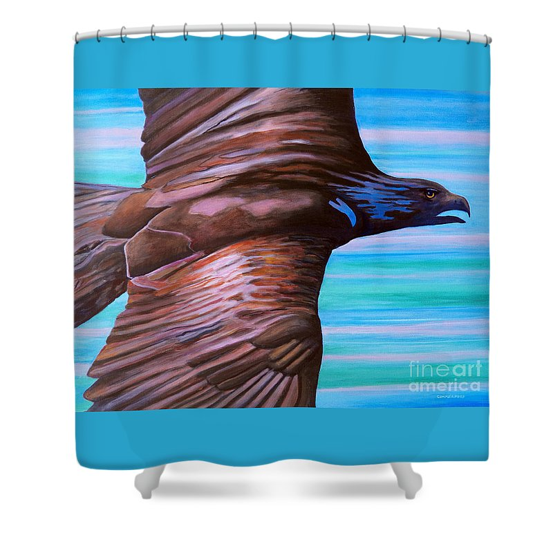 Eagle Shower Curtain featuring the painting Fly Like An Eagle by Brian Commerford