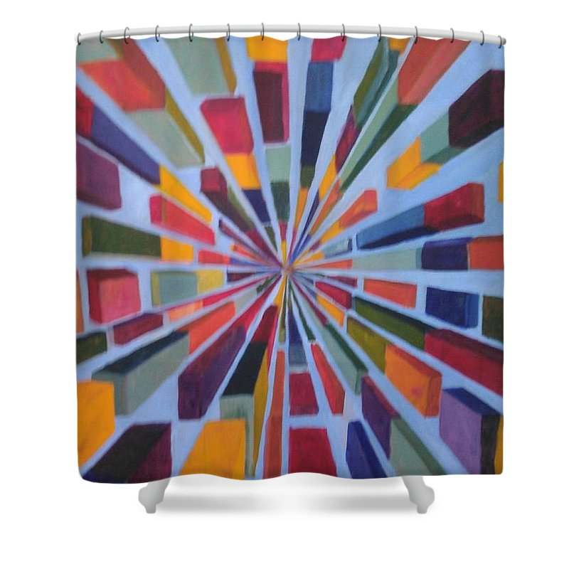 Non Representational Art Shower Curtain featuring the painting Flying box by Andrew Johnson