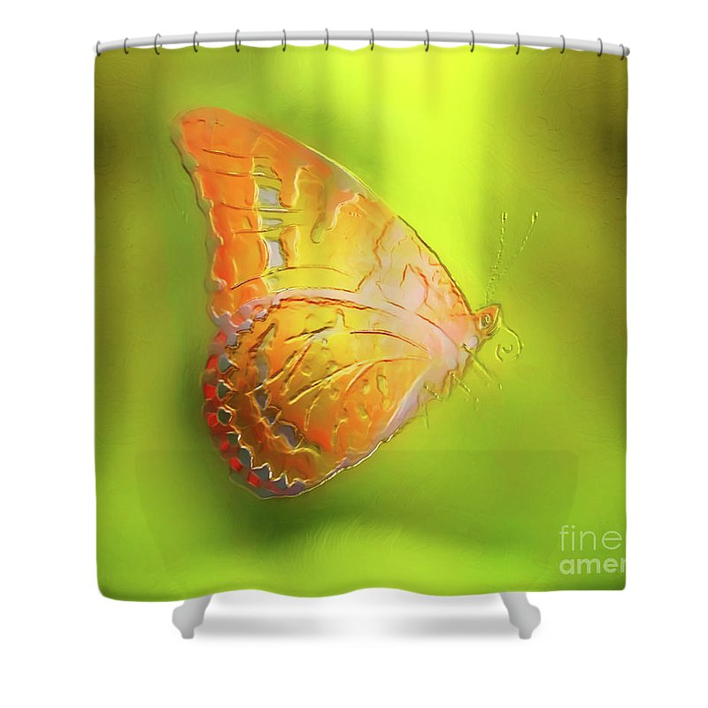 Abstract Shower Curtain featuring the painting Flying Butterfly On Decorative Background, Graphic Design. by Jozef Klopacka