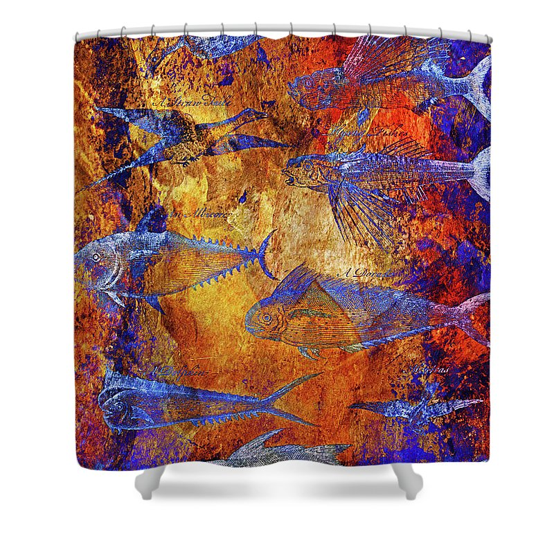 Fish Shower Curtain featuring the mixed media Flying Fish On Orange by Skint Fish