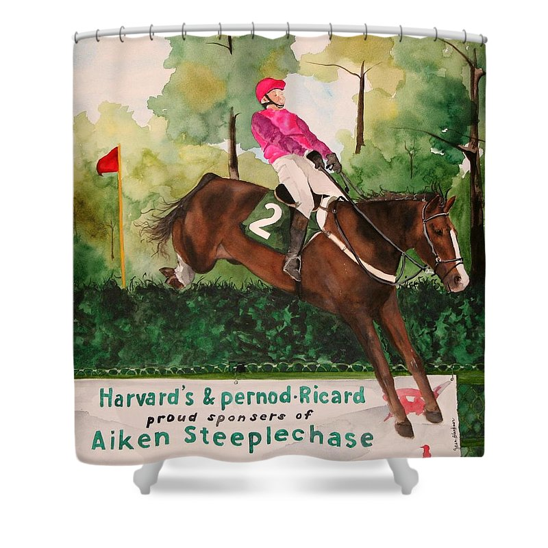Horse Shower Curtain featuring the painting Flying High by Jean Blackmer