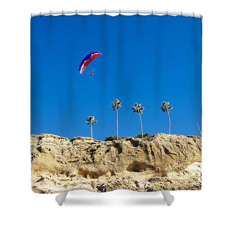 La Jolla Shower Curtain featuring the photograph Flying High by Keith Ducker