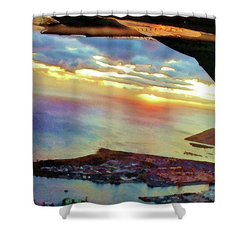 Flying Shower Curtain featuring the photograph Flying Into Honolulu II by Craig Wood