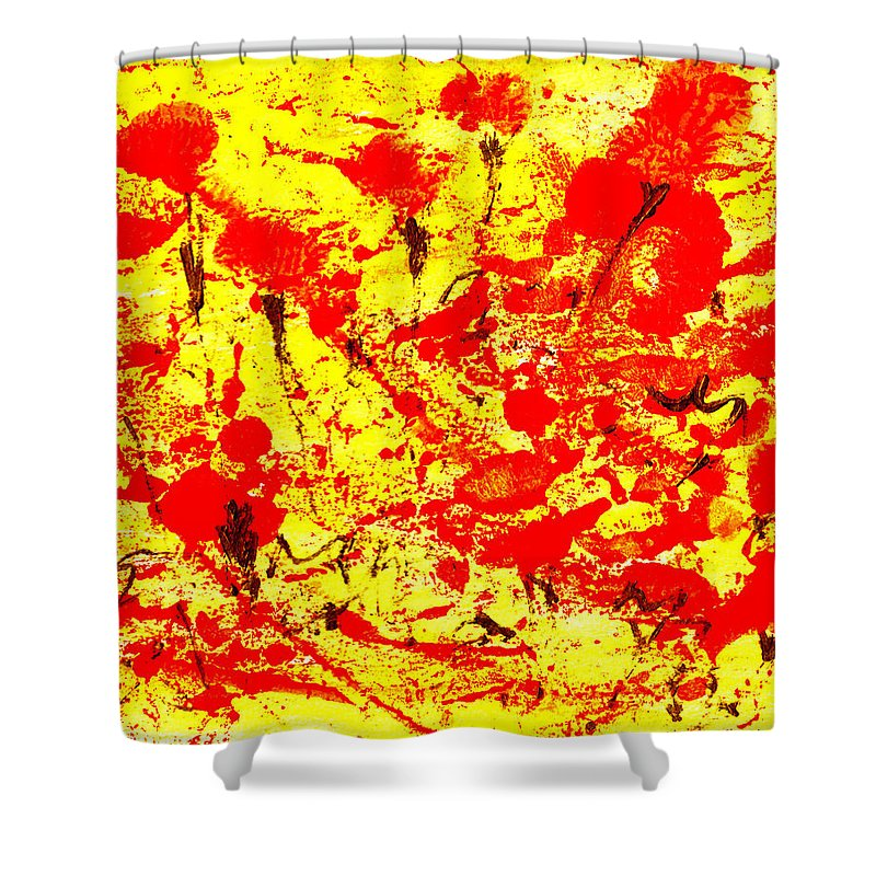 Abstract Shower Curtain featuring the painting Flying Poppies by Wayne Potrafka