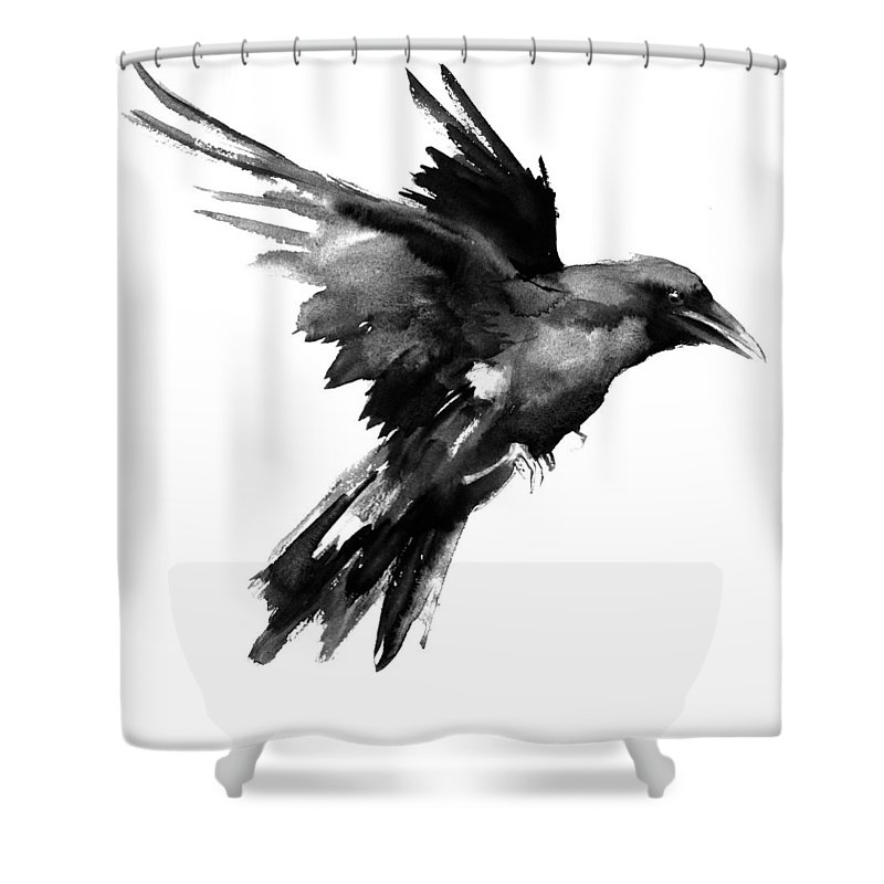 Raven Shower Curtain Featuring The Painting Flying Raven By Suren Nersisyan