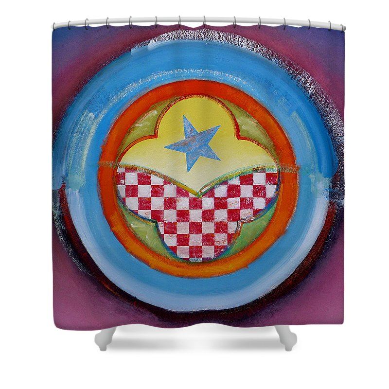 Logo Shower Curtain featuring the painting Flying Star by Charles Stuart