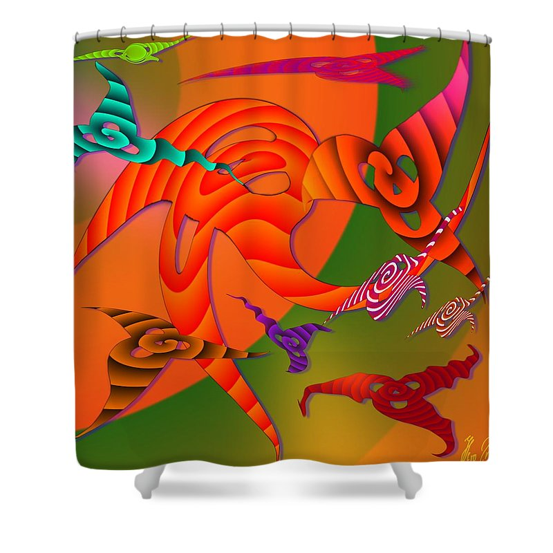 Triangles Shower Curtain featuring the digital art Flying Triangles by Helmut Rottler