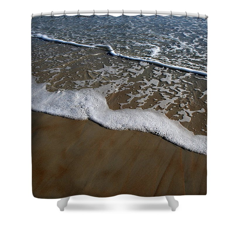 Beach Sand Wave Waves Foam Foamy White Sunny Clear Water Ocean Shower Curtain featuring the photograph Foamy Water by Andrei Shliakhau