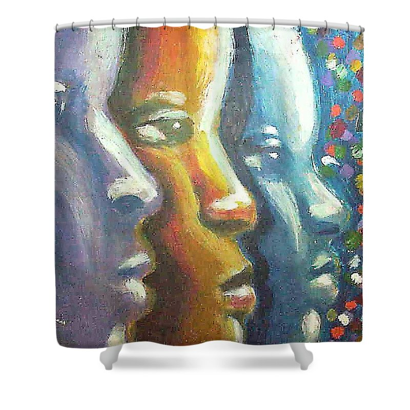 Color Shower Curtain featuring the painting Focus by Jan Gilmore