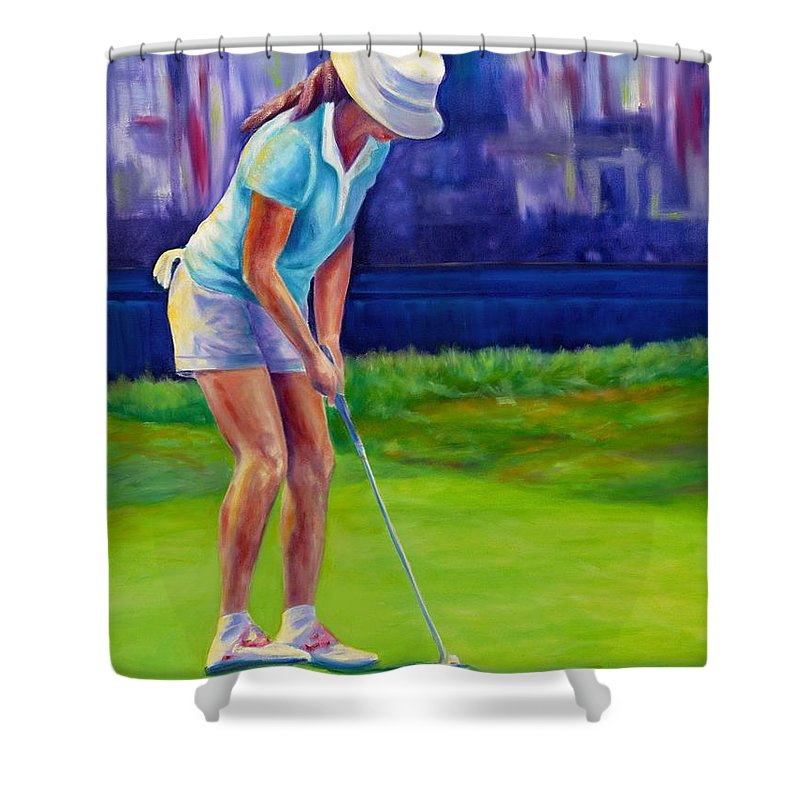 Woman Shower Curtain featuring the painting Focus by Shannon Grissom